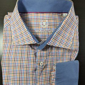 Bugatchi Uomo Dress Shirt Contrast Flip Cuff